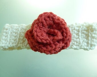 0-3 months crocheted headband-cream and rouge-Free shipping