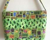SALE Halloween Lime Green trick or treat large horizontal stripe quilted patchwork purse SALE