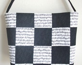 Quilted Tote bag in black and white music notes and treble clefs checker board patchwork purse 10%off