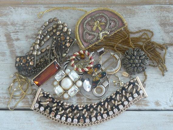 Vintage Jewelry Destash Rhinestones Brooches Singles Beaded Monet Aldo