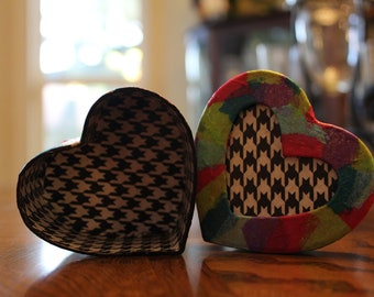 Colorful Houndstooth Heart Box