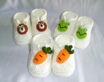 crochet newborn baby booties Jasper,Kermit & Baby bear