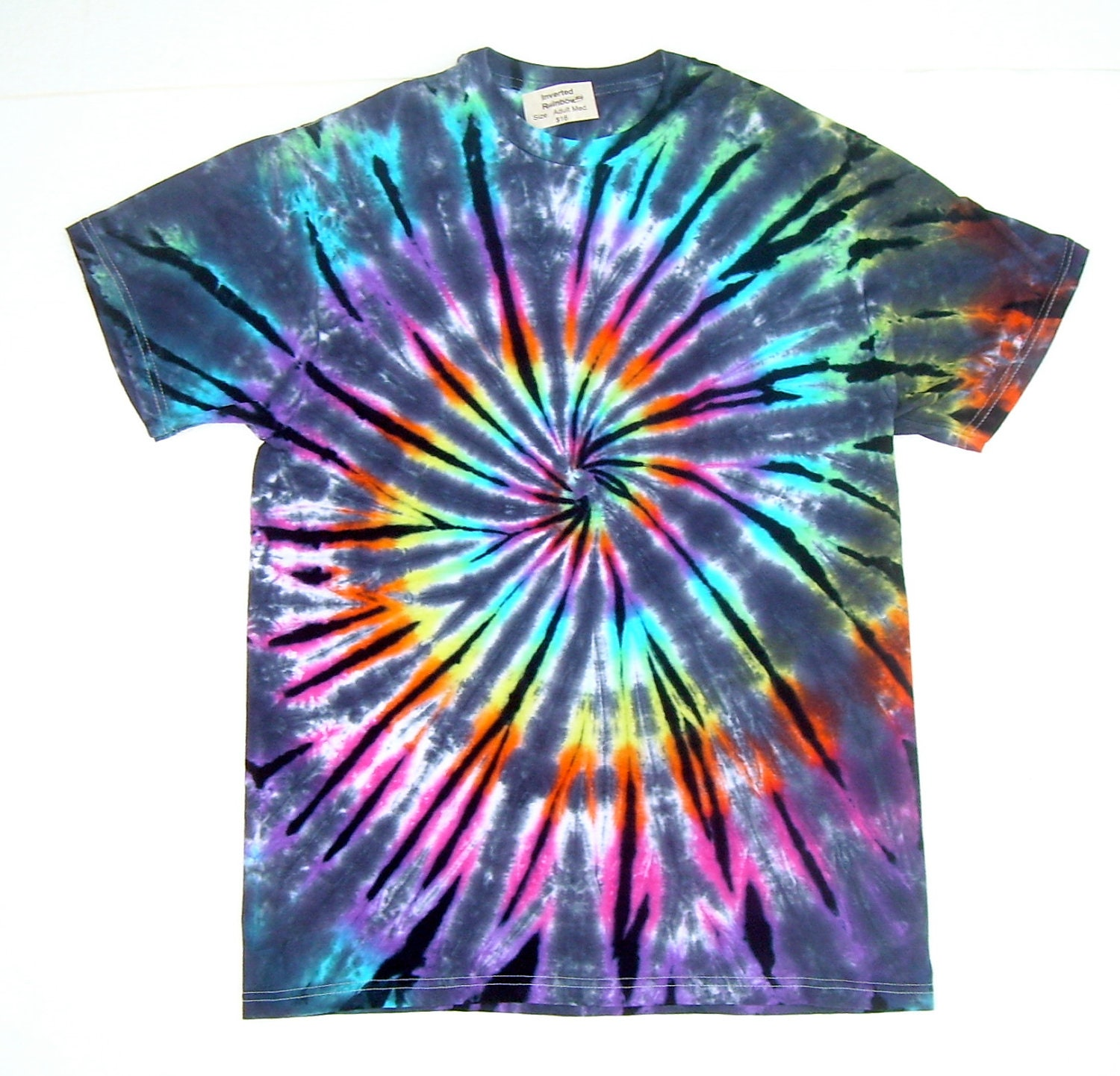 Tie dye shirt adult medium pastel inverted rainbow spiral for Customized tie dye shirts