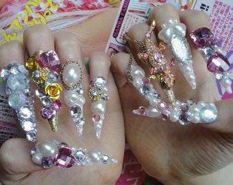 Pink Queen Hime Kawaii 3D Deco Bling Gyaru Lolita Princess Nails