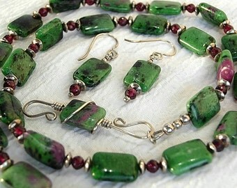 Ruby in Zoisite, Garnet and a Sterling Silver Clasp Necklace and Earring Set, Green and Burgundy