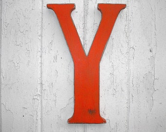 Rustic Wooden Letter Y 12 inch Shabby Chic Decor Alphabet Letter Wall Hanging Sign