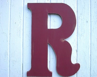 Wooden Letters Large 24 inch R Distressed Red Wedding Guest book alternatives Decor Gifts Wall Hanging Wedding Wall decor