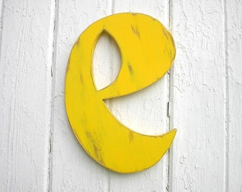 "Shabby Chic Nursery Wall Hanging Wooden Letter ""e"" Yellow Dorm decor"