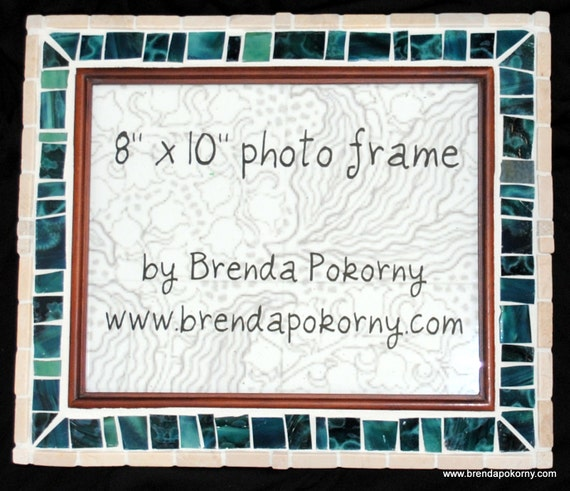 Teal and Sandstone 8 x 10 Mosaic Wall or Tabletop Picture Frame  MOF1356