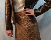 60s Vintage Tan and Brown, Checkered, High-Waisted, Polyester, A-line Skirt