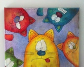 Five Cats...Original acrylic painting on 12x12 wrapped canvas