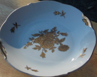 Vintage Ceramic Gold and White Plate on Pedestal