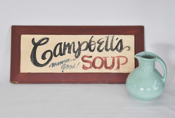 On Sale Vintage Campbells Soup Wooden Sign Home Decor