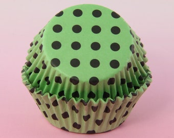 50x, 2'' Standard Size Cupcake Liners, Baking Cups, Green and Black Polka Dot, 2'' x 1 1/4''