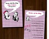 Retro, 50s, Vintage, Fun, Purple, DIY Printable Wedding Order of Service/Ceremony Program