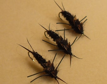 Trout Flies, Fishing Flies, Black Stonefly, 3 Fly Selection