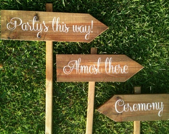 Personalized Wooden Wedding Signs, Ceremony Signs, Reception Signs - Set of 6 mix and match WS-56