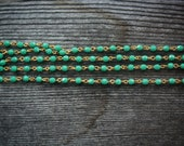 Special listing for Jen...Faceted Turquoise Bead Chain with Gold Links, 4mm, 4 feet