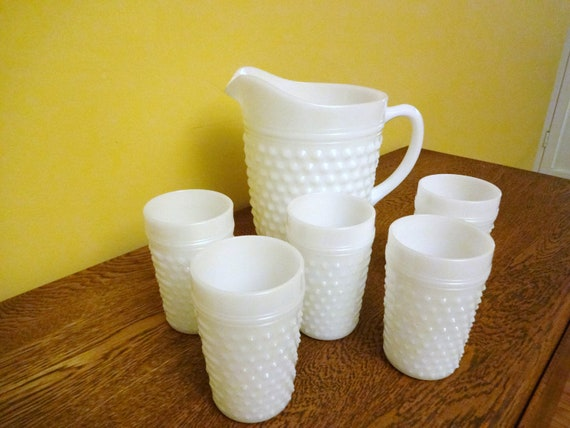 Vintage Milk Glass Pitcher and Glasses  Set - 5 Glasses - Anchor Hocking Hobnail - Wedding Decor - Shabby Chic - Cottage Chic