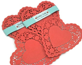 "Red Heart Doilies 6"" French Lace Rose scalloped edged doily Qty 25"
