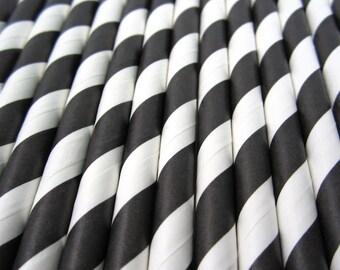 25 Black Stripe Paper Straws - Drinking Straws - Party Supplies