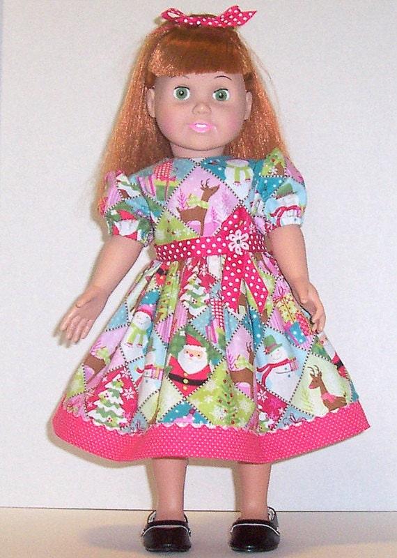 18 inch doll clothes christmas pink dress polka dots