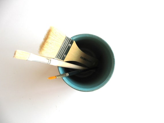 ceramic vase - back to school - turquoise matt enamel - pencil holder - desk accessory - ready to ship