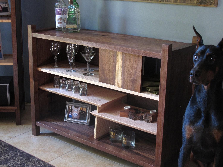 Bar and Buffet Sideboard Walnut Tiger Maple Handmade Custom