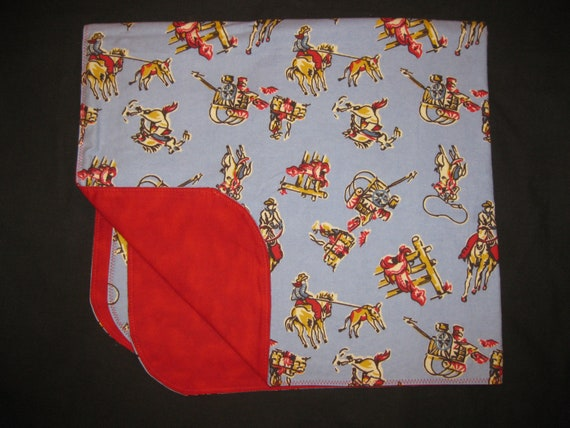 Cowboy Wild West Flannel Baby Blanket - Double Sided - Receiving Blanket - Rodeo Horse