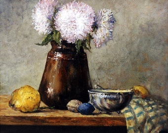 Classical Still Life, Print, Earthen Pot with Chrysanthemums 9.65x12