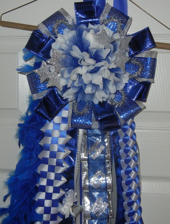 Single Homecoming Mum Royal Blue White And Silver Ready