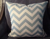 18x18 Chevron Throw Pillow-Light Blue & Ivory- Front and Back Pattern