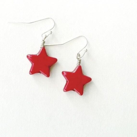 Red Star Earrings Howlite stone earrings