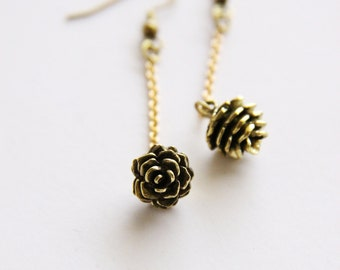 Golden Pinecone with Brass chains Earrings