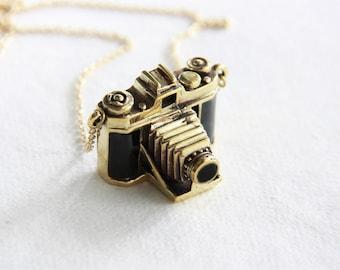 Golden Antique Folding Style Camera Pendant - Vintage Brass Metal/ Enamel Necklace