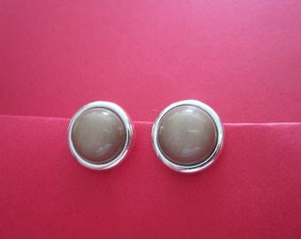 Vintage Smokey Gray Glass Cabochon & Silver Tone Earrings