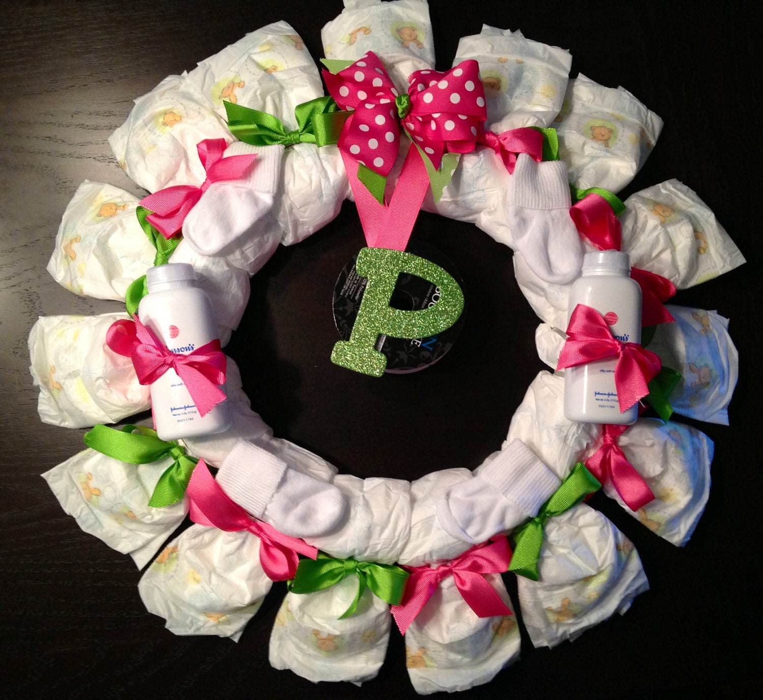 items similar to personalized diaper wreath baby shower gift custom