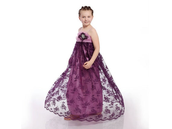 "Children cloting, lace girl dress for special occasions, purple and mave with silver brooch and purple ribbon ""PURPLE PRINCESS"""
