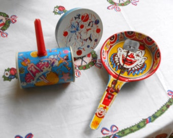 Set of 3 Vintage Noisemakers U.S. Metal Toy Mfg, Co. 1950s Party Decor Favor
