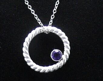 Amethyst Circle Sterling Necklace SCAD Grad