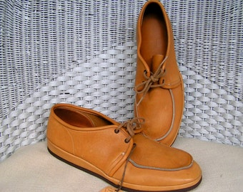mens leather shoes, creepers, 8M, vintage, NOS, loafers, buckskin, Moccasins,  creeper shoes, creeper, rockabilly, mens creepers