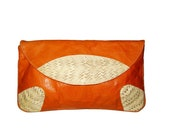 Glazed Leather Clutch with Cream and Beige Snake Skin Applique