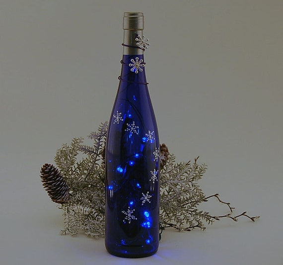 Wine Bottle Light Christmas Snowflakes Blue Home Decor