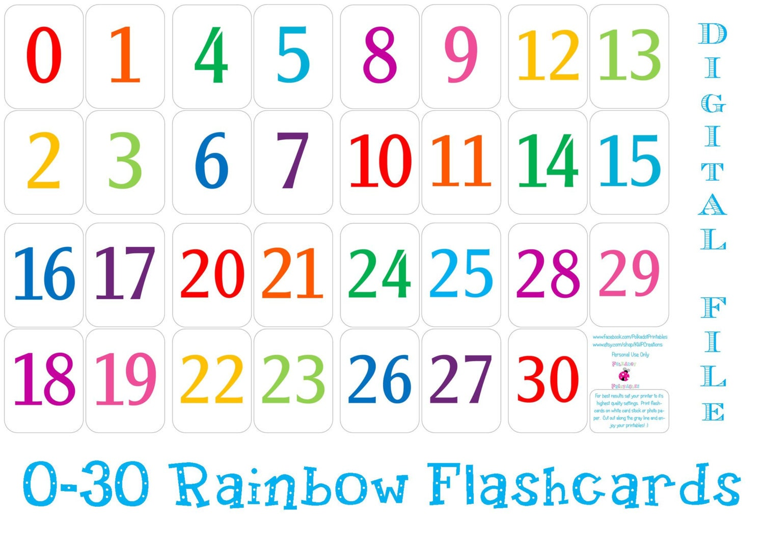 Printable 0 30 Number Flashcards Instant by pdotprintables