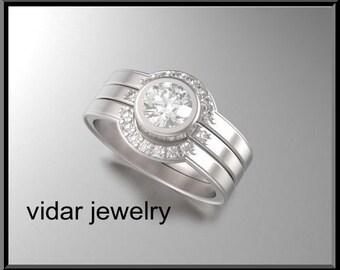 Unique Engagement Ring Set,Triple Ring Set,Halo Engagement Ring Set,Diamond Wedding Ring Set,Diamond Halo Ring Set,Three ring Set