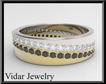 Wedding Band,Wedding Ring,Womens Black And White diamond Wedding Band unique design in 14k White And Yellow gold,Womens Wedding Band,Unique