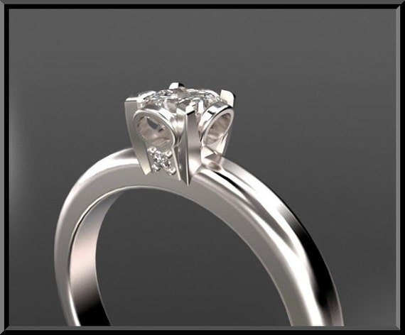 Engagement Ring,Unique Engagement Ring, Design 14K Princess cut Diamond Solitaire Engagement Ring.