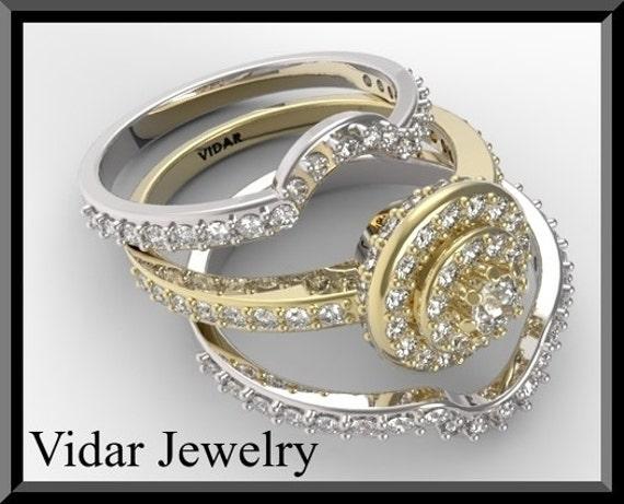 Yellow And White Gold Diamond Wedding Ring SetBridal