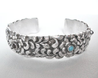 Beautiful Sterling Silver Floral Cuff Bracelet Set With Garnet And Turquoise Stones