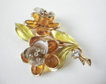 Beautiful Vintage Vendome Enamel Floral Bouquet Brooch With Glass Stones And Rhinestones